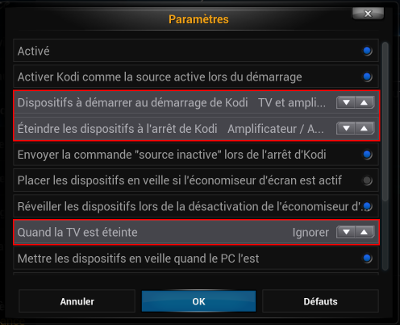 Capture décran paramètres CEC Kodi
